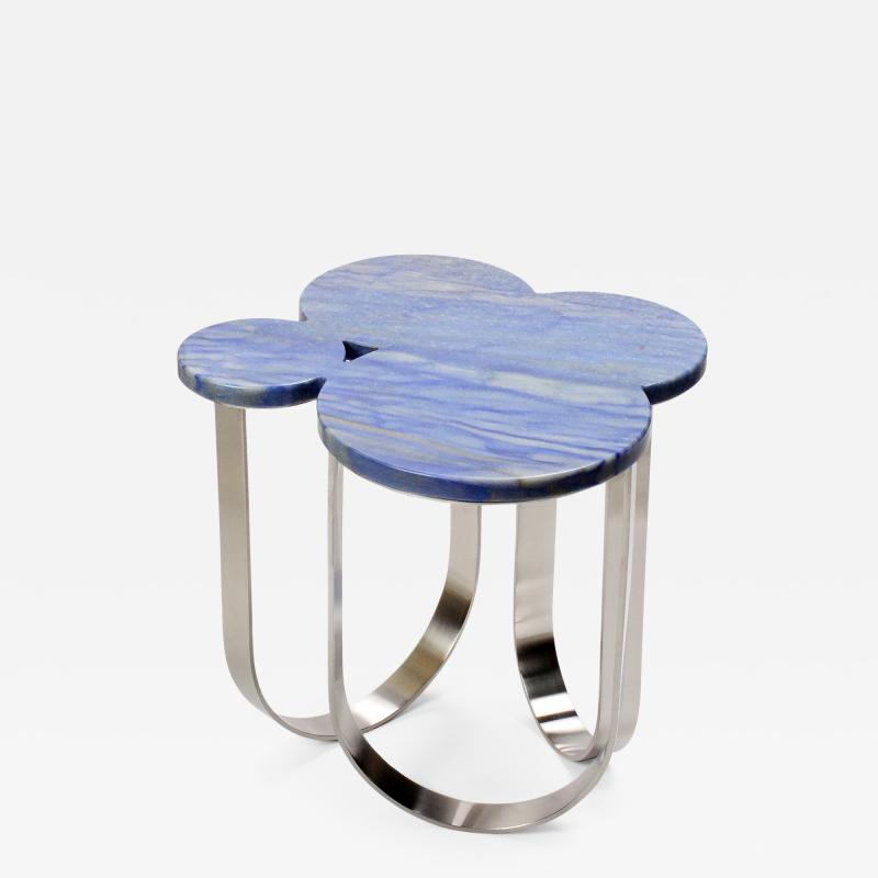 Barberini Gunnell Side table in Azul Macaubas quartzite and structure in polished stainless steel