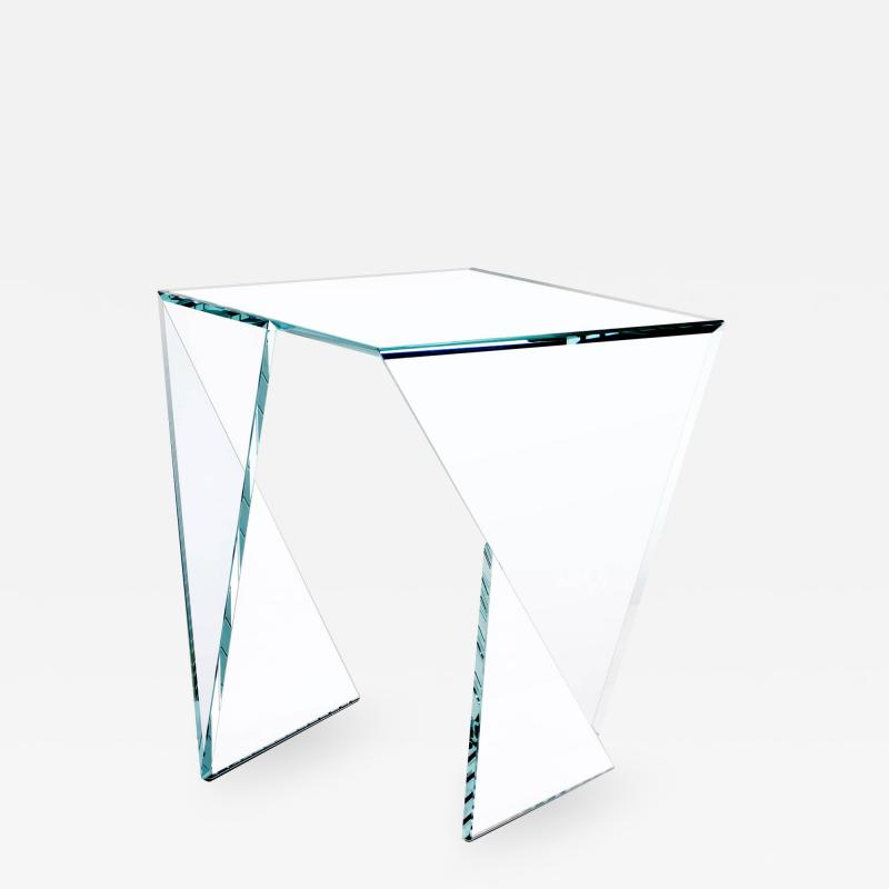 Barberini Gunnell Side table or bedside in clear crystal glass square made in Italy