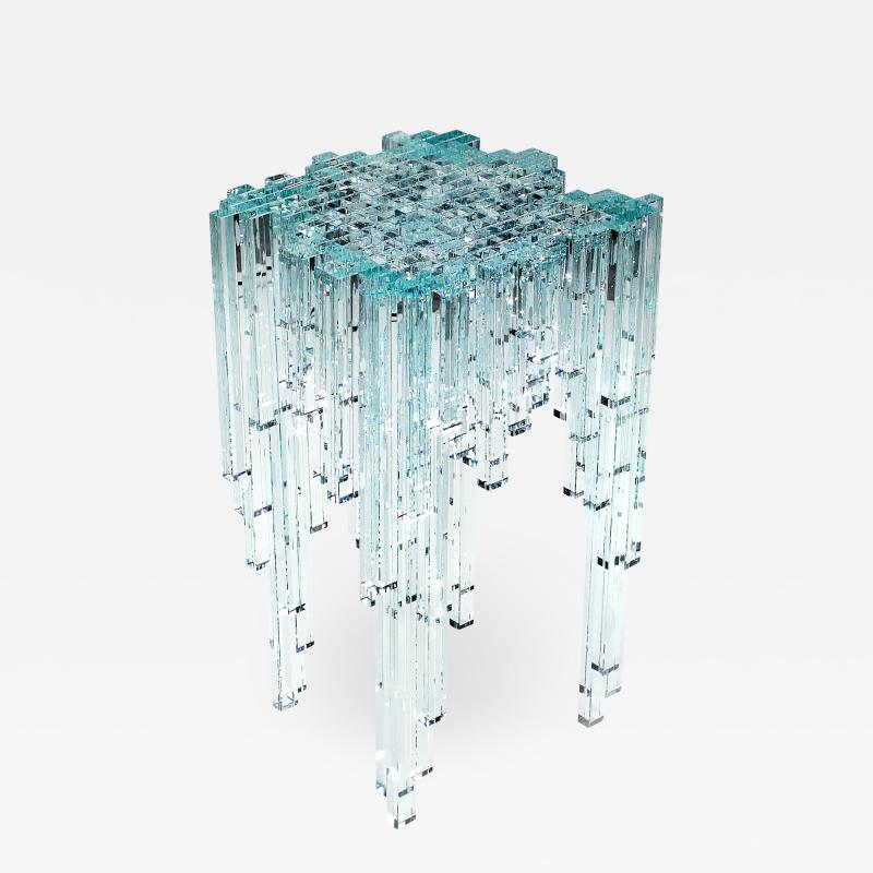 Barberini Gunnell Side table or bedside square top clear crystal glass sculpture made in Italy