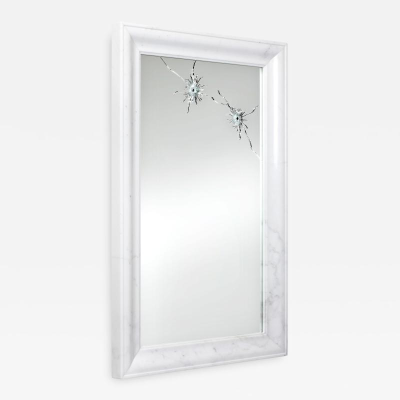 Barberini Gunnell Wall mirror white marble rectangular frame contemporary design made in Italy