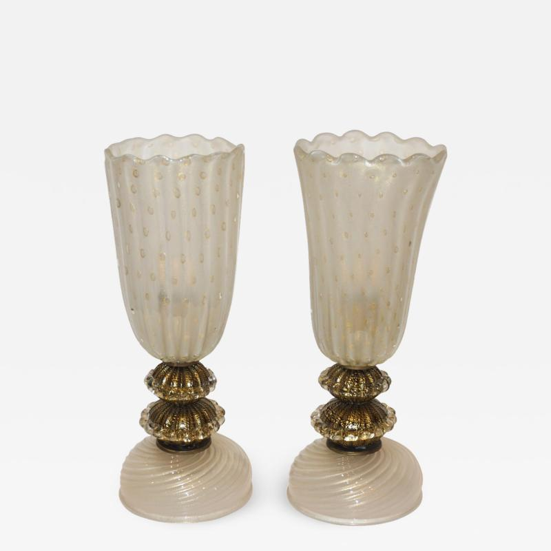 Barovier Toso 1970s Italian Vintage Barovier Toso Pair of White Black Gold Murano Glass Lamps