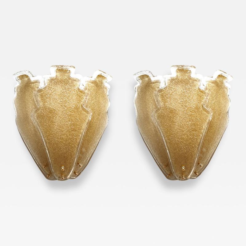 Barovier Toso 2 pairs of large gold Granilia Murano glass Mid Century Modern sconces Barovier