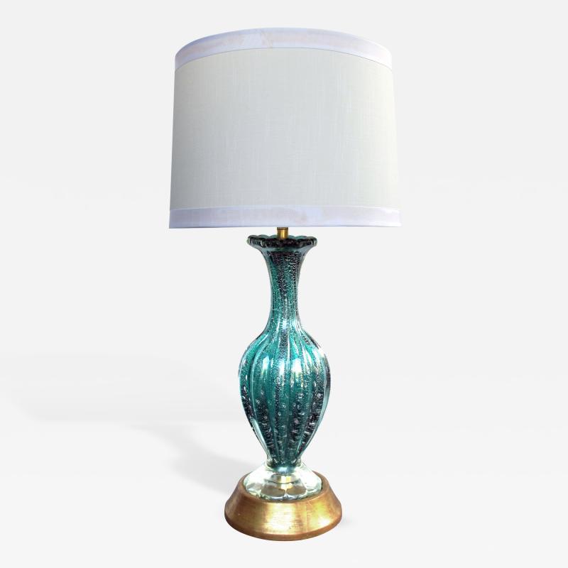 Barovier Toso A Murano Mid Century Teal Art Glass Silver Aventurine Lamp Barovier Toso
