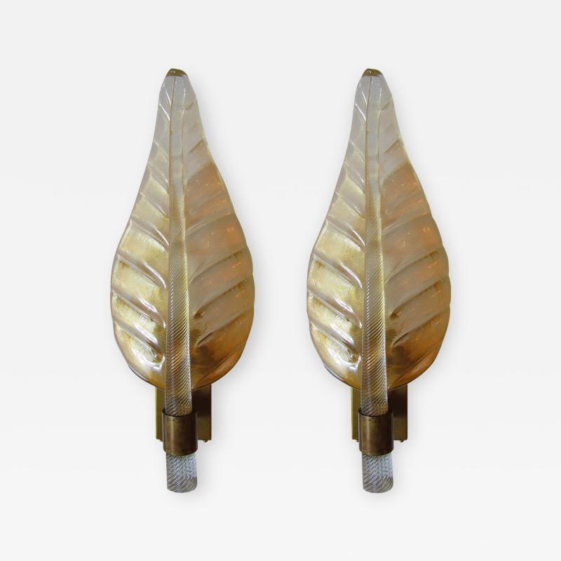 Barovier Toso A Rare Set of 8 Barovier and Toso Amber Glass and Bronze Leaf Form Wall Lights
