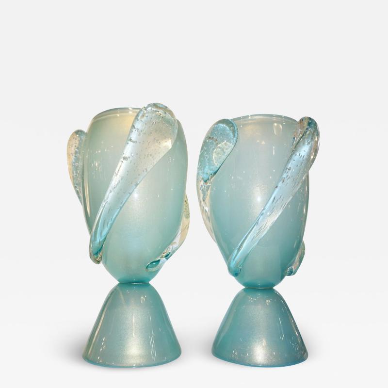 Barovier Toso Barovier Toso Contemporary Italian Modern Pair of Aqua Blue Murano Glass Lamps