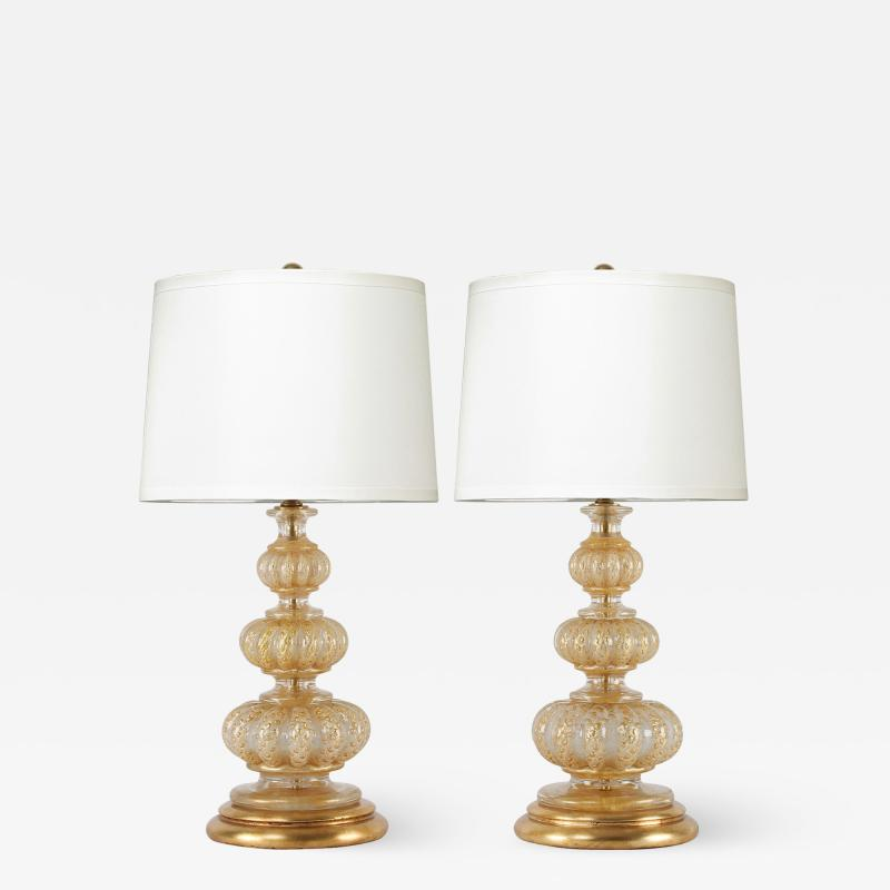 Barovier Toso Barovier Toso Pair Of Beautiful Hand Blown Glass Table Lamps 1950s