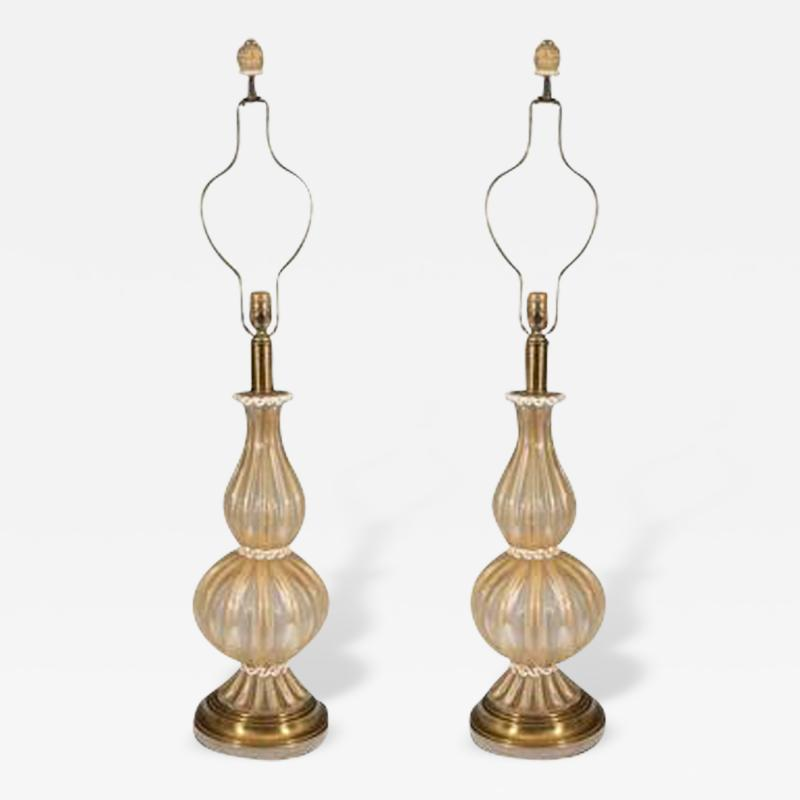 Barovier Toso Beautiful Pair of Barovier Toso Murano Glass Table Lamps