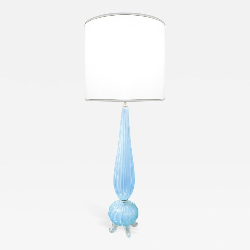 Barovier Toso Brovier Toso Monumental Hand Blown Blue Glass Table Lamp 1950s