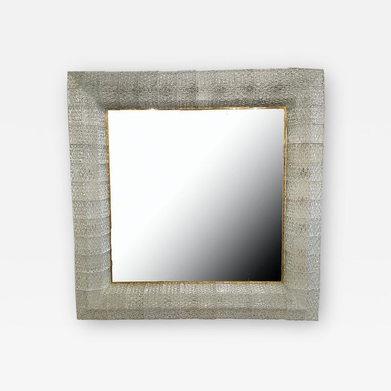 Barovier Toso Italian Modern Handblown Glass and Bronze Illuminated Mirror Barovier and Toso