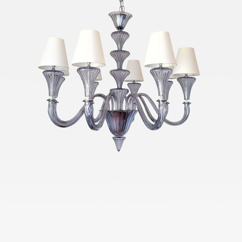 Barovier Toso Large Blue Gray Mid Century Modern 8 lights Murano Glass Chandelier by Barovier