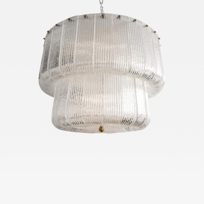Barovier Toso Large Clear Murano Glass Round Chandelier in the Style of Barovier Toso Italy