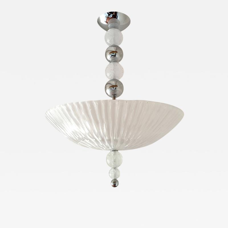 Barovier Toso Mid Century Modern frosted Murano glass chrome chandelier Barovier style