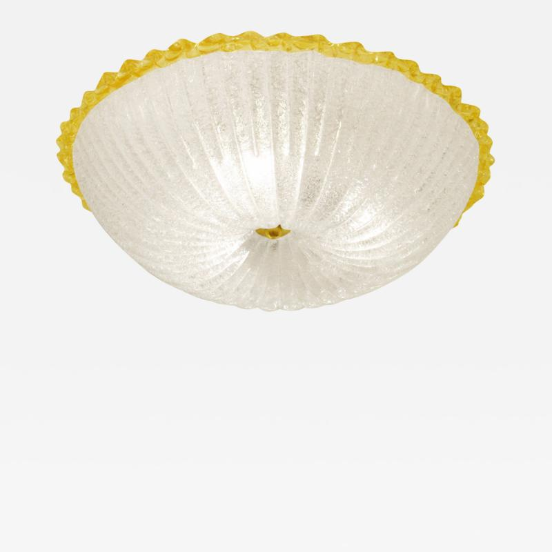 Barovier Toso Murano Glass Flush Mount by Barovier with Gold Edge