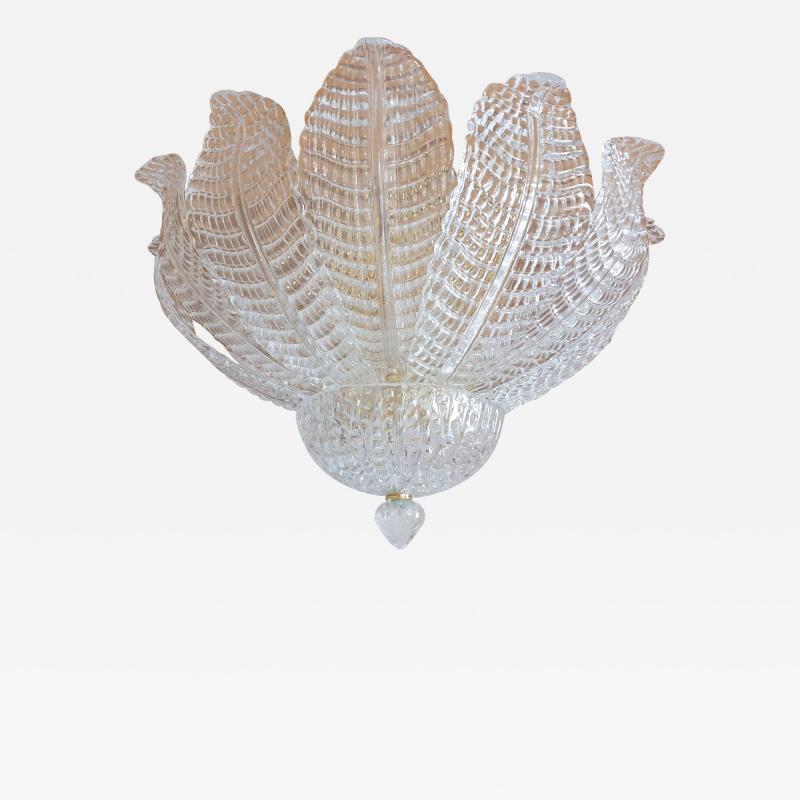 Barovier Toso Murano glass Leaves Mid Century Modern flush mount chandelier Barovier style 70s