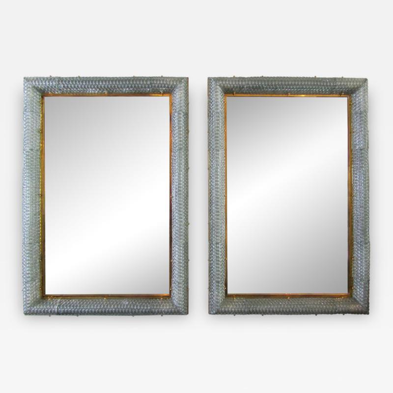 Barovier Toso Pair of Italian Modern Handblown Glass Bronze Illuminated Mirrors
