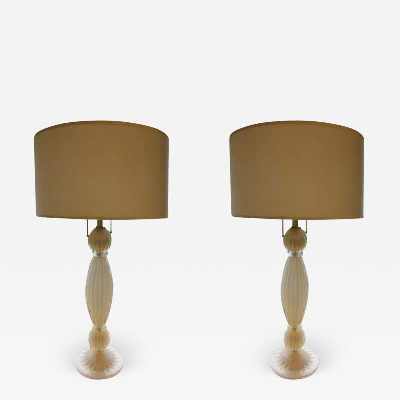 Barovier Toso Pair of Italian White and Gold Murano Glass Table Lamps