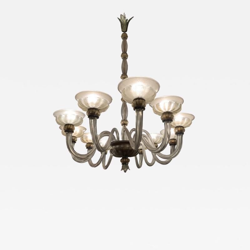 Barovier Toso Rare oval chandelier in Murano glass Italy circa 1940