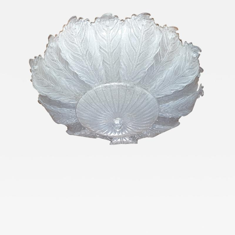 Barovier Toso Very Large Mid Century leaf Murano glass flush mount by Barovier Italy 1970s