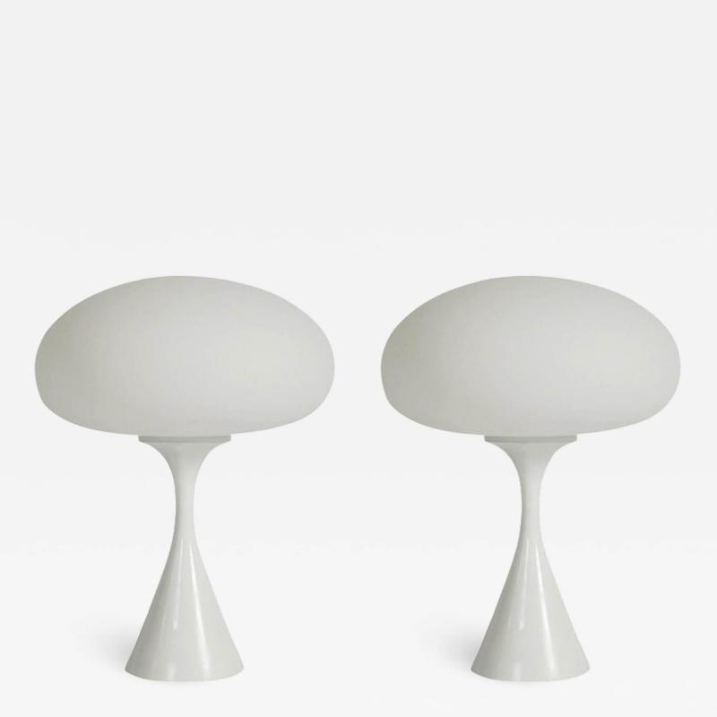 Bauer Lamp Company Pair of Mid Century Modern Laurel Mushroom Table Lamps in White