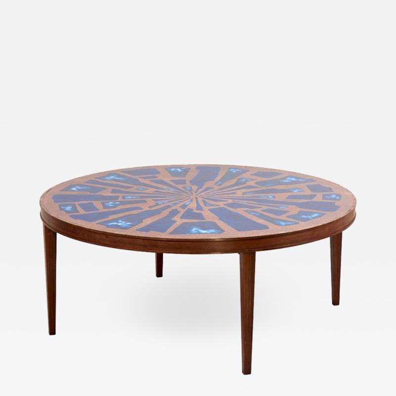 Behr Stunning Rare Wood Coffee Table with Copper and Enamel Top by Behr