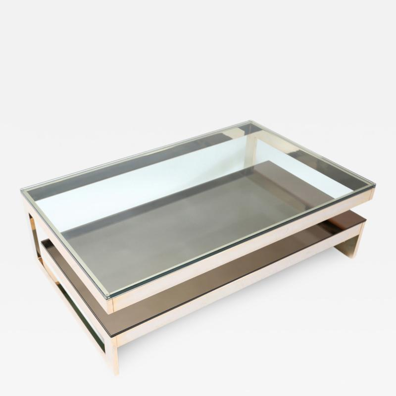 Belgo Chrome 23 Kt Gold Layered Two Tier Coffee Table