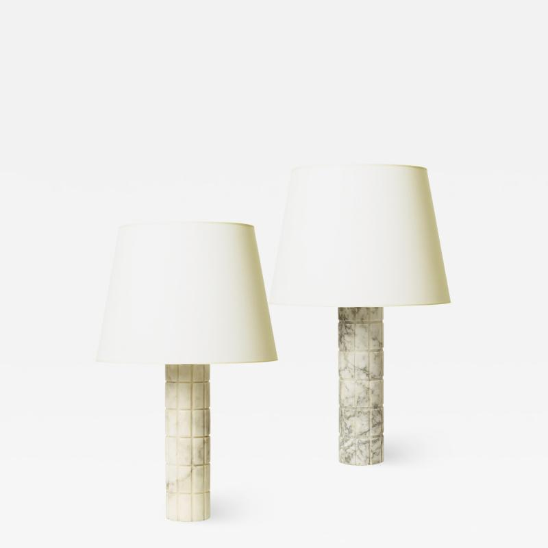 Bergboms Mod Table Lamps with Carved Grid Relief by Bergboms