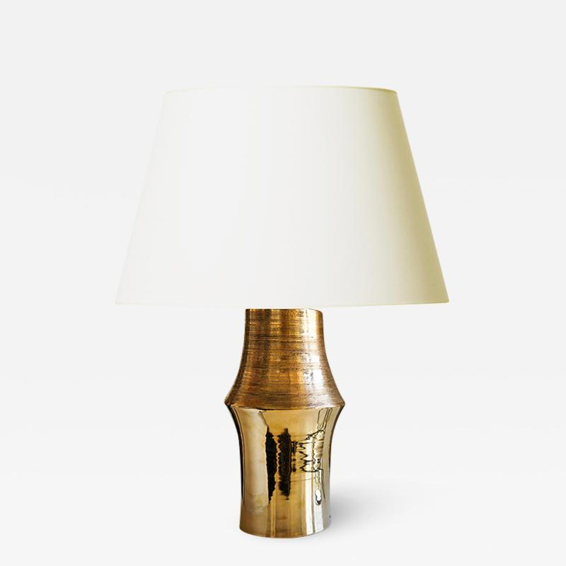 Bergboms Organically modeled table lamp with gold glaze by Bitossi for Bergboms
