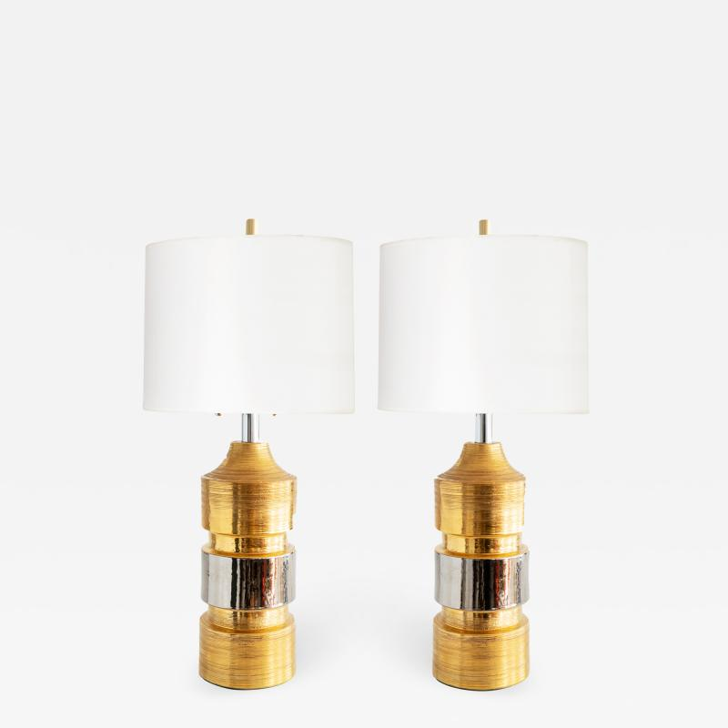 Bergboms Pair of Gold and SIlver Ceramic Lamps Bitossi for Bergboms