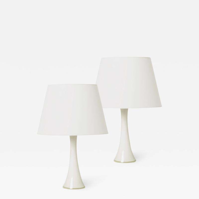 Bergboms Pair of Mod Lamps in White and Clear Crystal by Bergboms
