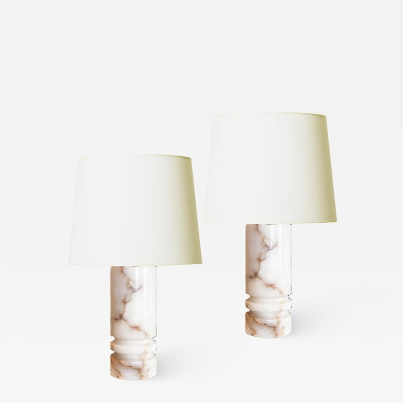 Bergboms Pair of Substantial Onyx Table Lamps by Bergboms