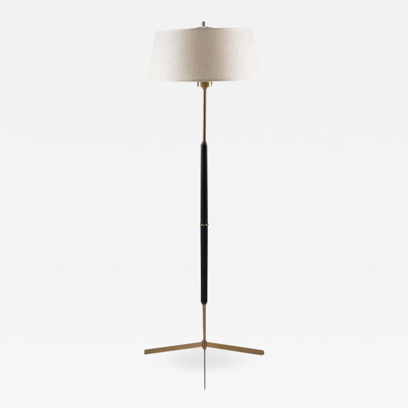 Bergboms Scandinavian Midcentury Floor Lamp in Brass and Wood by Bergboms Sweden