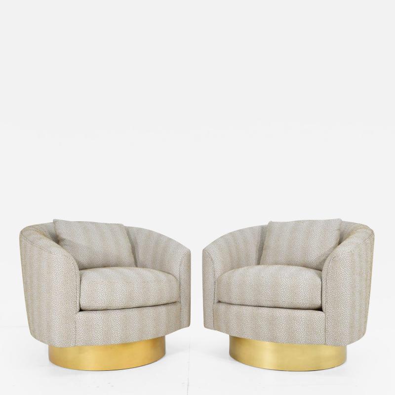 Bernhardt Furniture Company Pair of Like New Bernhardt Swivel Lounge Chairs