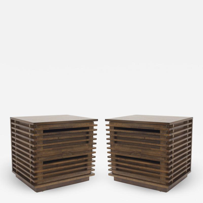 Bernhardt Linea Bernhardt Linea Contemporary Walnut Bedside Tables