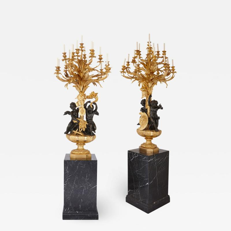 Beurdeley Monumental gilt and patinated bronze candelabra by Beurdeley