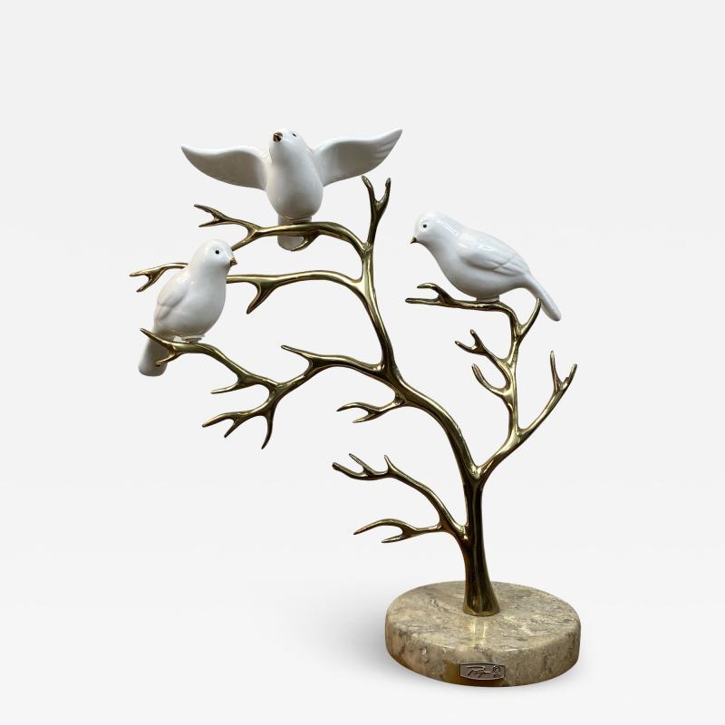 Bijan SIGNED BIJAN CERAMIC BIRDS AND BRASS TREE SCULPTURE