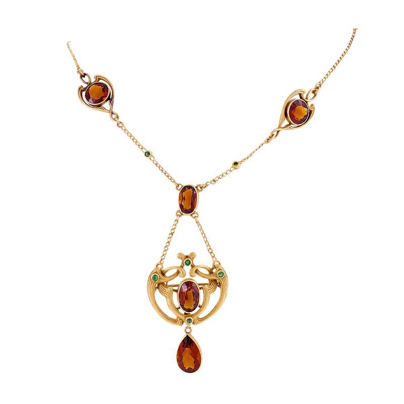 Bippart Griscom Osborn Art Nouveau Pendant Necklace with Citrine and Demantoid Garnet