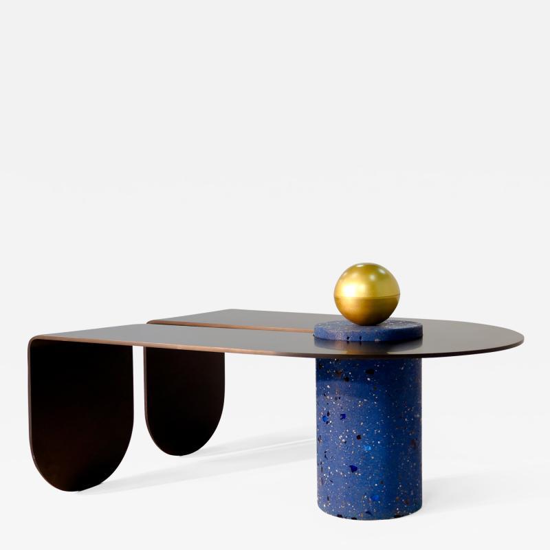Birnam Wood Studio U I Coffee Table with Brass Storage Sphere