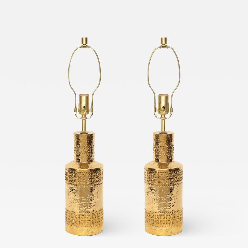 Bitossi Bitossi Incised 22 Karat Gold Glazed Lamps