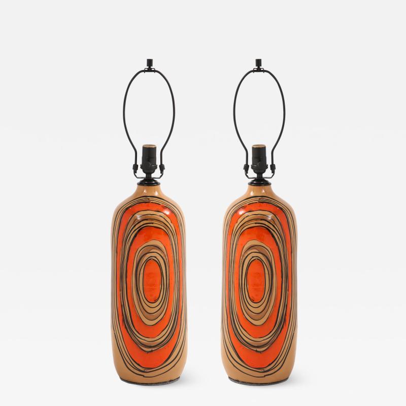 Bitossi Bitossi Modernist Orange Glazed Ceramic Lamps