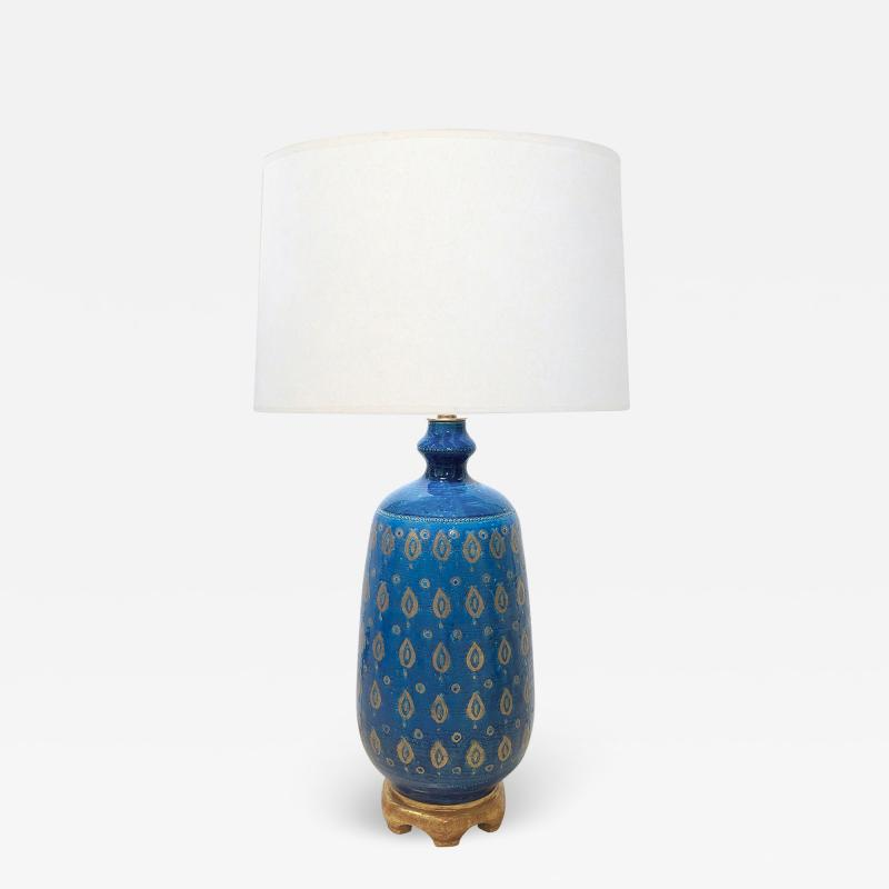 Bitossi Large 1960s Bitossi Pottery Cerulean glazed Lamp with Gilt Decoration