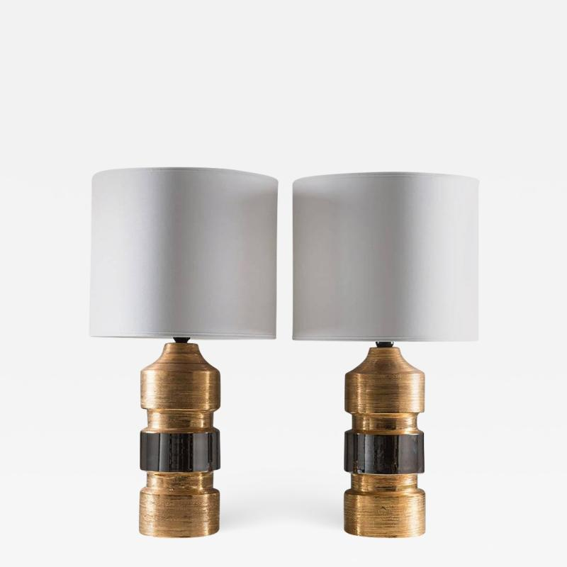 Bitossi Pair of Mid Century Ceramic Table Lamps by Bitossi for Bergboms Sweden