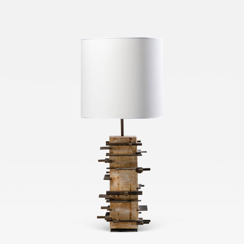 Blend Roma Brutalist handcrafted table lamp in plaster concrete and metal Italy 2020
