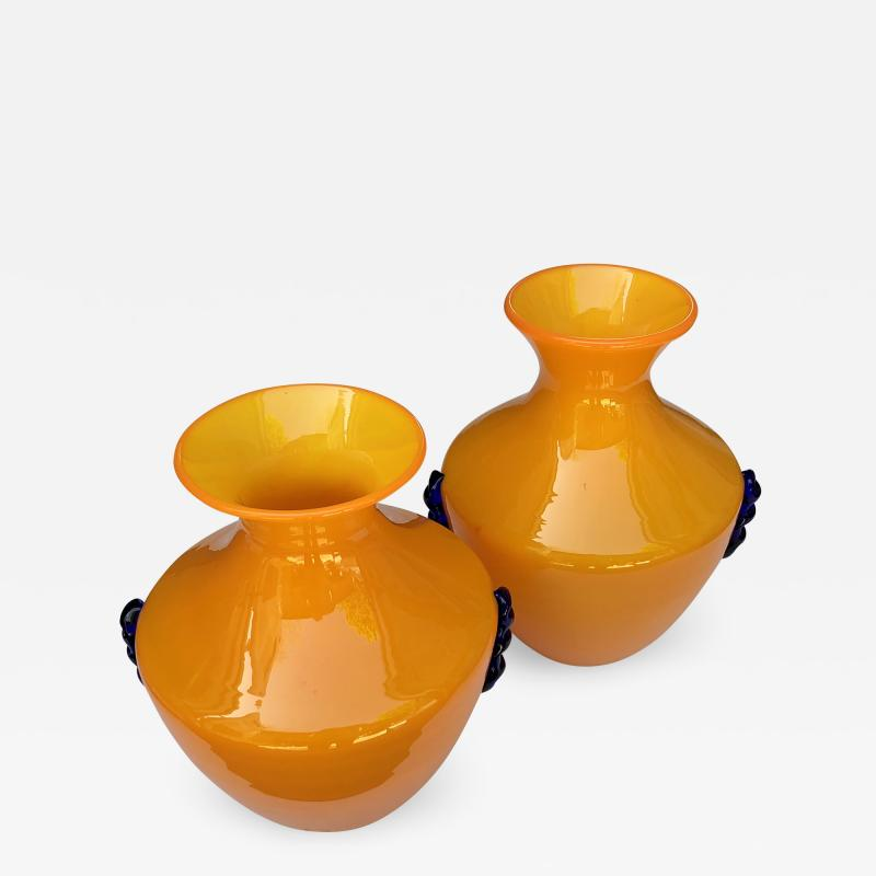 Blenko Glass Co A Rare Pair of Blenko Orange Glass Vases with Applied Cobalt Decoration
