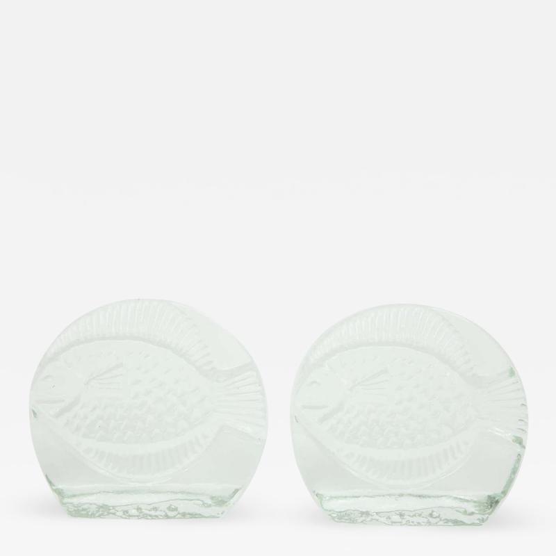 Blenko Glass Co Blenko Glass Fish Bookends