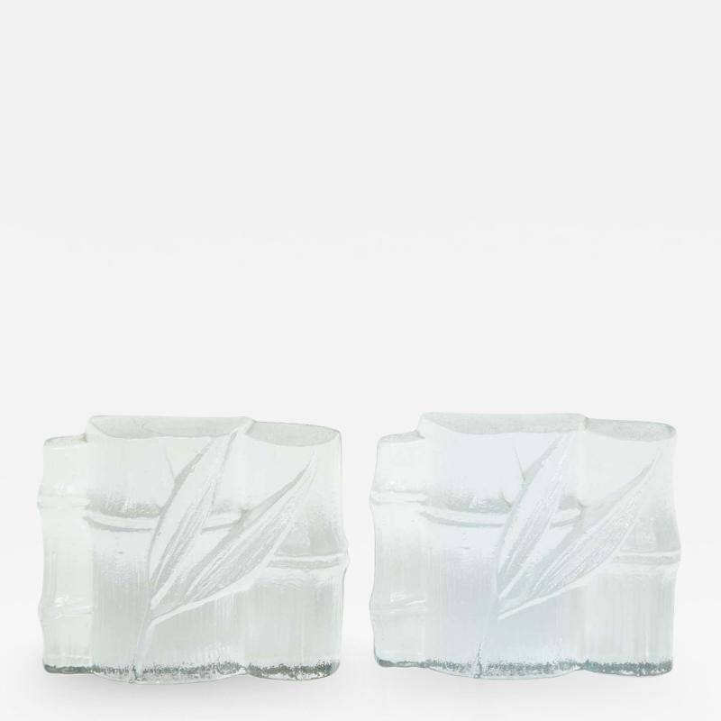 Blenko Glass Co Blenko Stylized Bamboo Glass Bookends