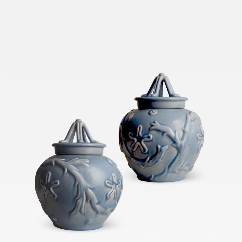 Bo Fajans Pair of Lidded Vases with Marine Life Theme by Bo Fajans