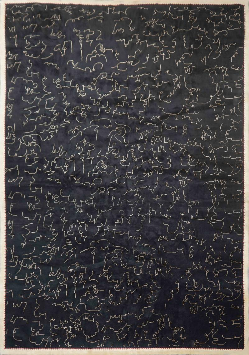Boccara Boccara Limited Edition Artistic Wool Rug Homage to Jean Cocteau Black