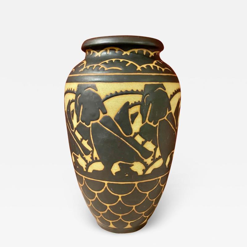 Boch Fr res Keramis Co Boch Freres Charles Catteau Animal Stoneware Primitive Vase Art Deco