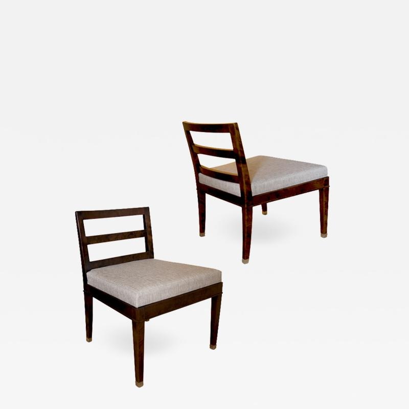 Bodafors Pair of Art Deco slipper chairs in stained birch by Bodafors