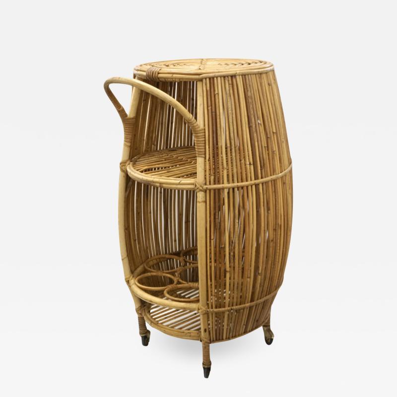 Bonacina Bonacina 1950 Italian Mid Century Modern Natural Rattan Cylindrical Bar Trolley